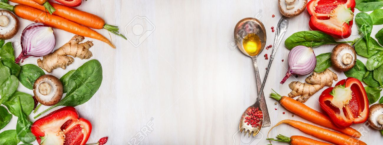 Organic Clean Vegetables Assorted With Cooking Spoons And Oil.. Stock  Photo, Picture And Royalty Free Image. Image 47925152.
