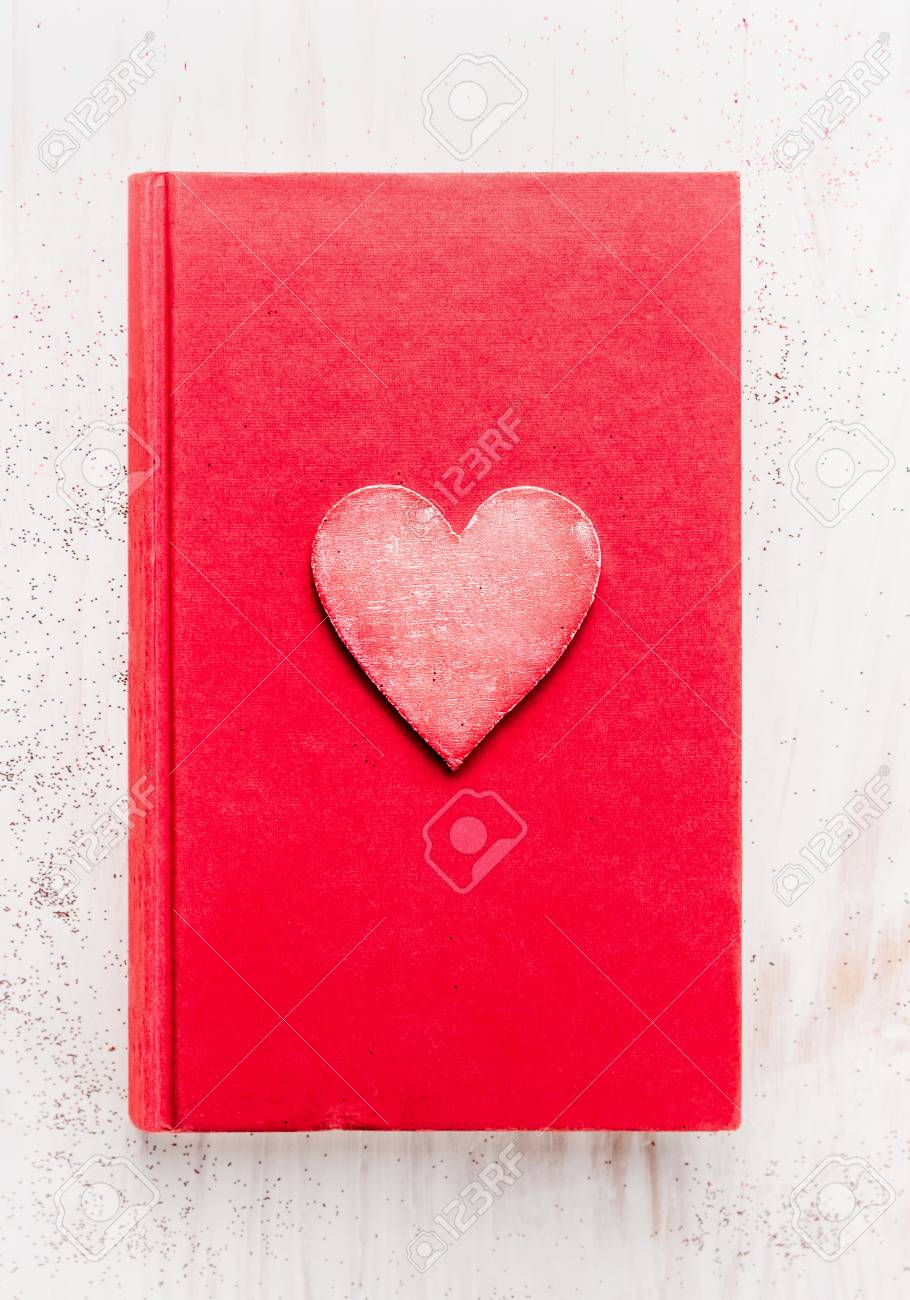 Red Diary Book With Heart On White Wooden Background Top View