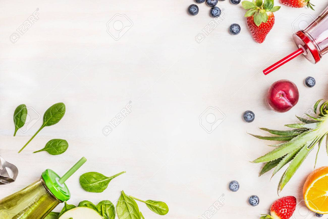 Smoothies and fresh ingredients on white wooden background, top view. Health or detox diet food concept. - 52046088