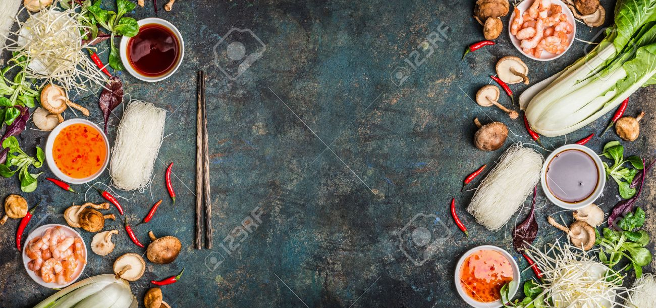 Asian food background with various of cooking ingredients on rustic background , top view , banner. Asian food concept: Chinese or Thai cuisine. - 52237375