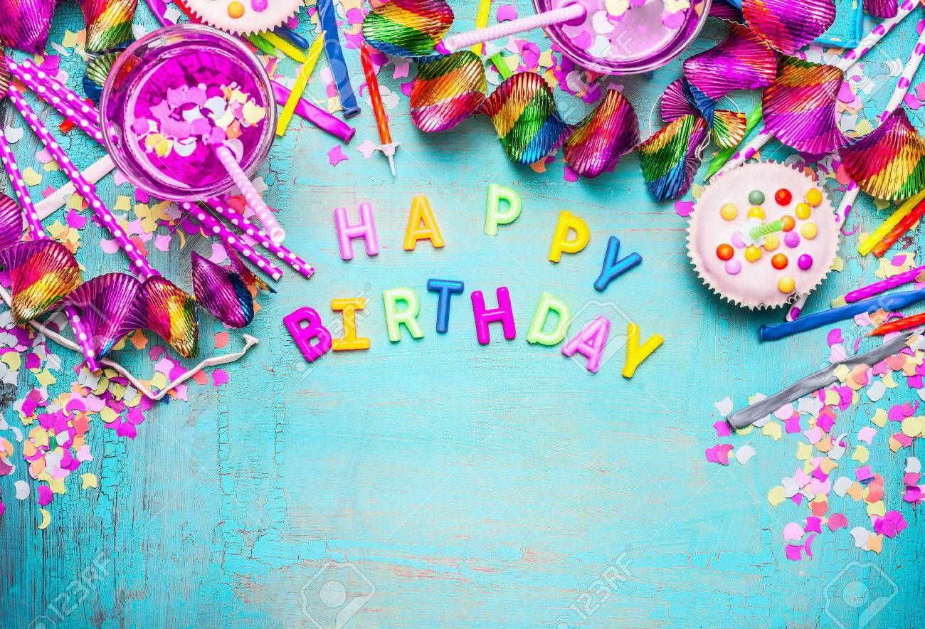 Happy Birthday Background With Letters Cake Drinks And Pink Festive Decoration On Turquoise Blue