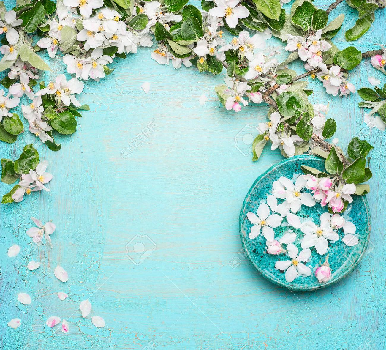 Spa Or Wellness Turquoise Background With Blossom And Water Stock
