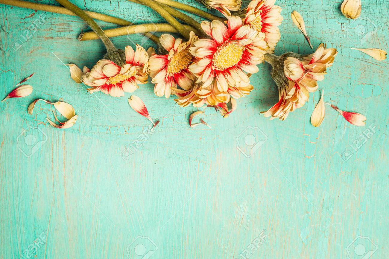 Beautiful Flowers Bunch On A Turquoise Shabby Chic Background