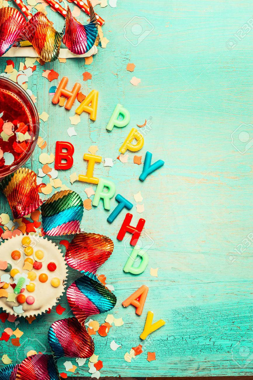 Happy birthday background with lettering, red decoration, cake and drinks , top view, place for text, vertical. Festive greeting or invitation card - 57128470
