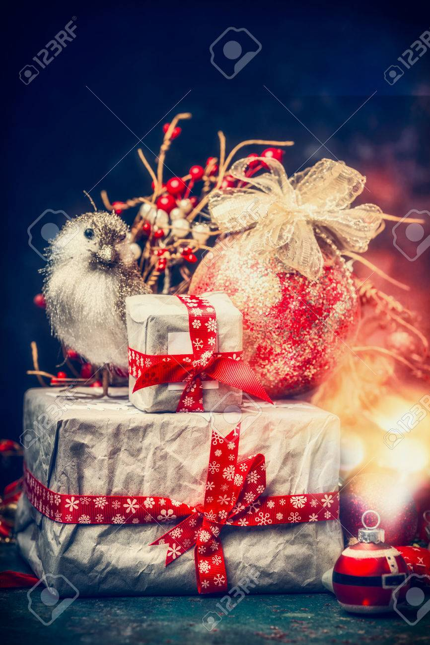 Lovely christmas card with beautifully packed gifts holiday stock lovely christmas card with beautifully packed gifts holiday balls bird and festive bokeh lighting m4hsunfo