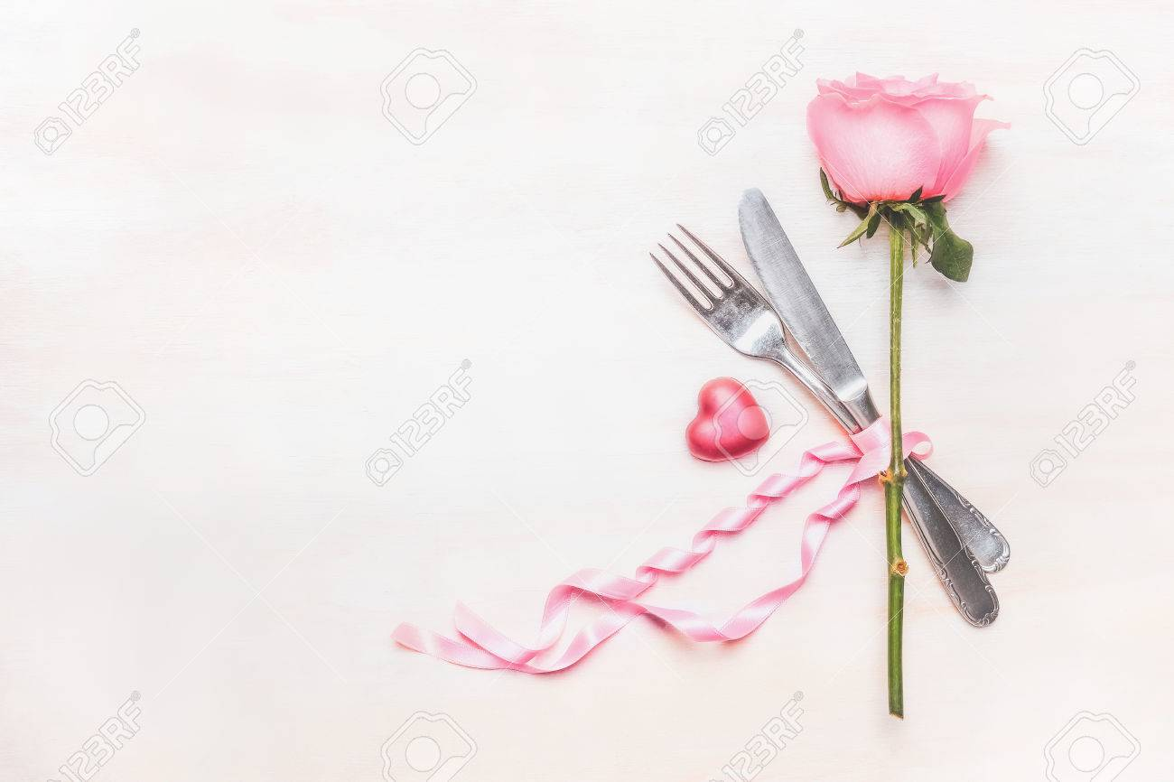 Stock Photo   Table Place Setting : Rose Flower, Cutlery And Ribbon On  Light Background, Top View, Place For Text