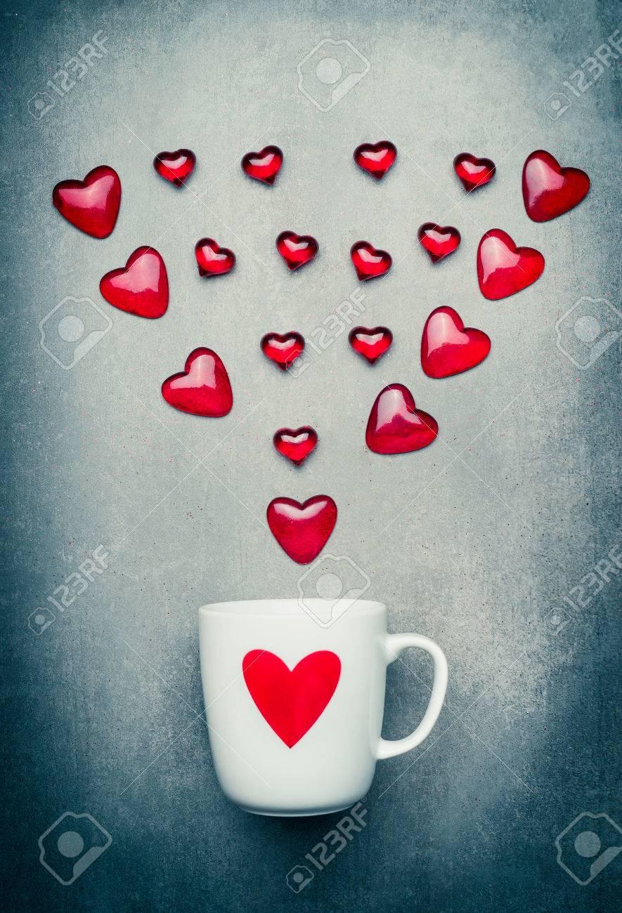 Mug And Red Hearts Arrow Romantic Love Symbols Valentines