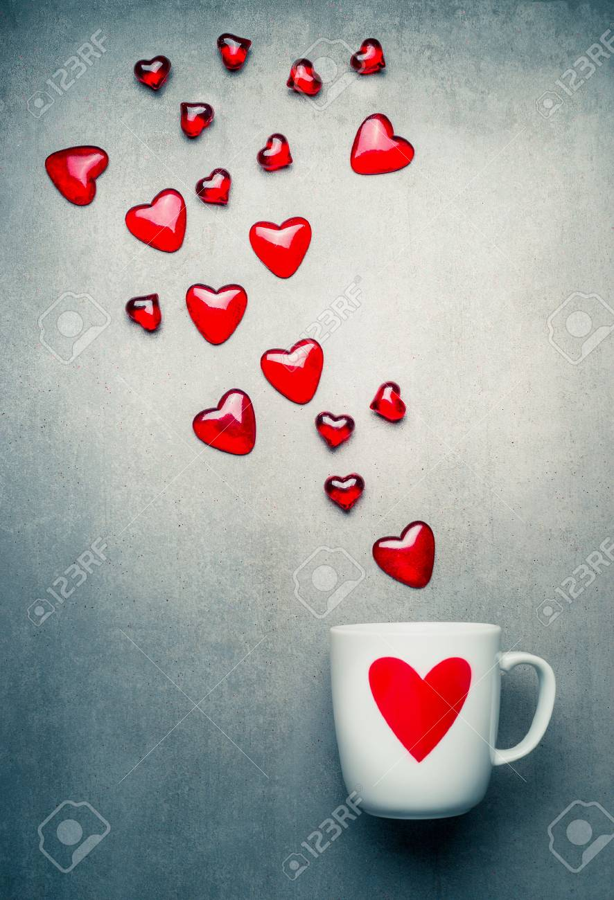 White Mug With Red Heart And Flying Glass Hearts Love Symbols