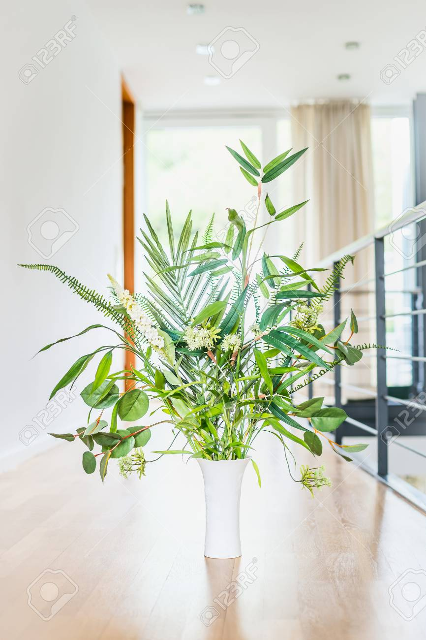 Green Indoor Plant Arrangement In Vase At Light Floor And Window ...