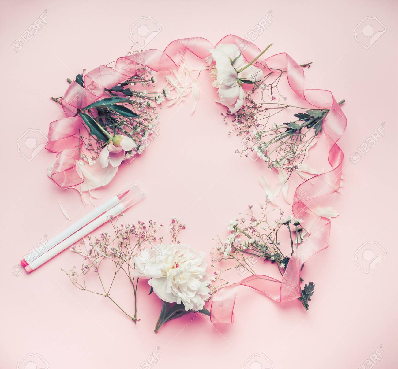 Round Floral Frame Arrangement With Pastel Pink Flowers Markers Stock Photo Picture And Royalty Free Image Image 80059541