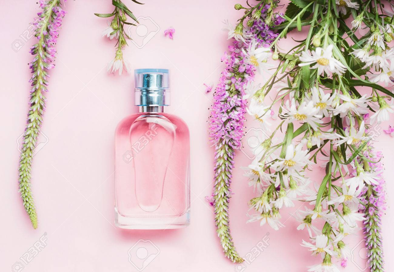 Floral perfume bottle with fresh herbs and flowers on pink floral perfume bottle with fresh herbs and flowers on pink background top view beauty mightylinksfo