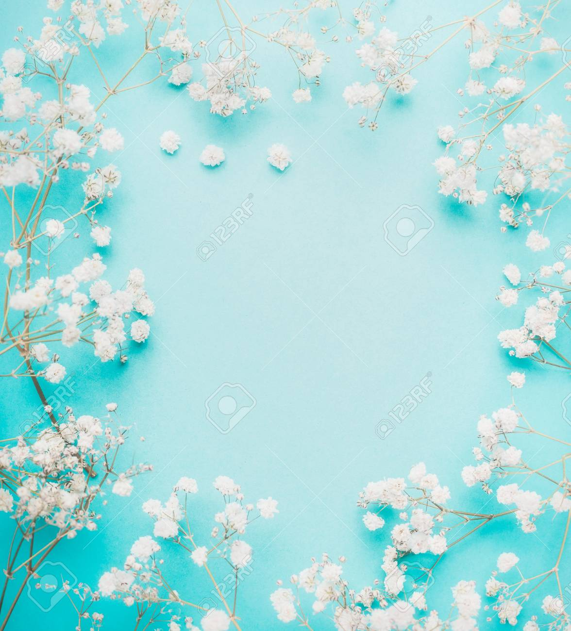 Beautiful White Little Flowers On Light Blue Turquoise Background