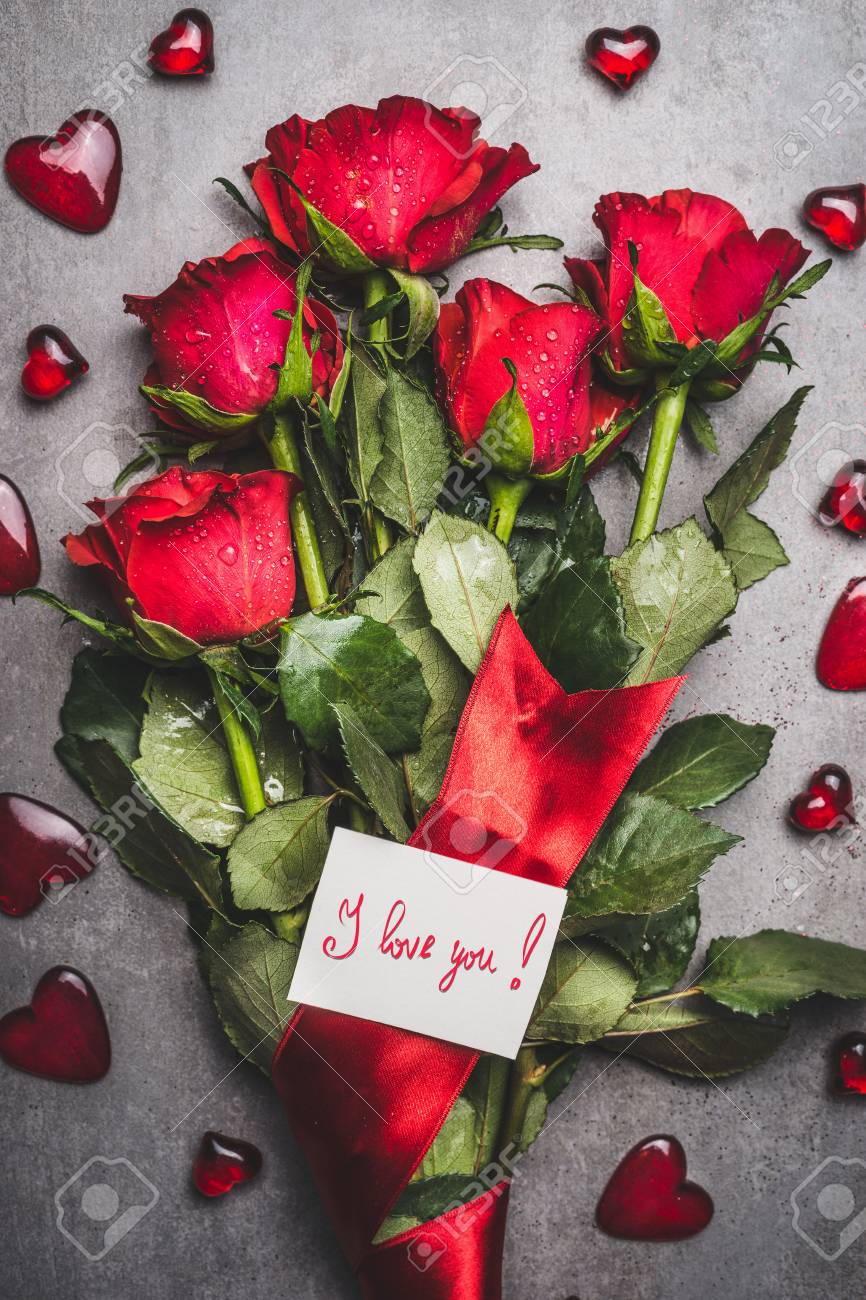 Big Flowers Bunch With Red Roses Ribbon I Love You Lettering Stock Photo Picture And Royalty Free Image Image 90409787