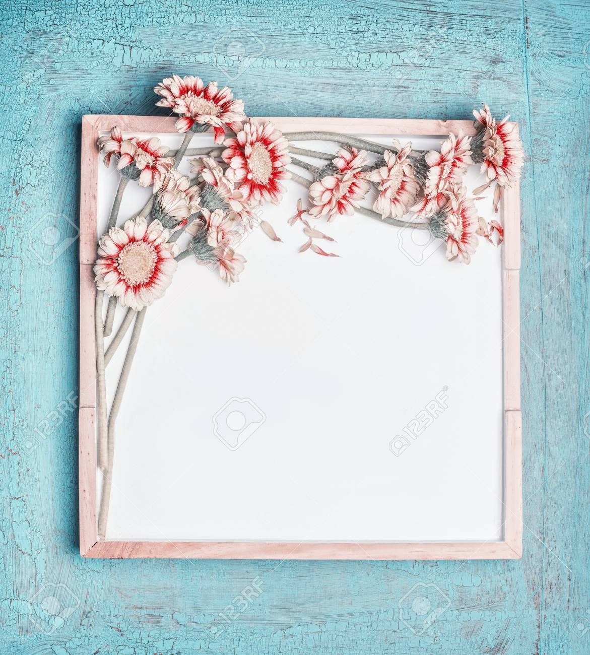 Blank White Chalkboard And Pretty Pastel Color Flowers Bunch On Turquoise Shabby Chic Background Top
