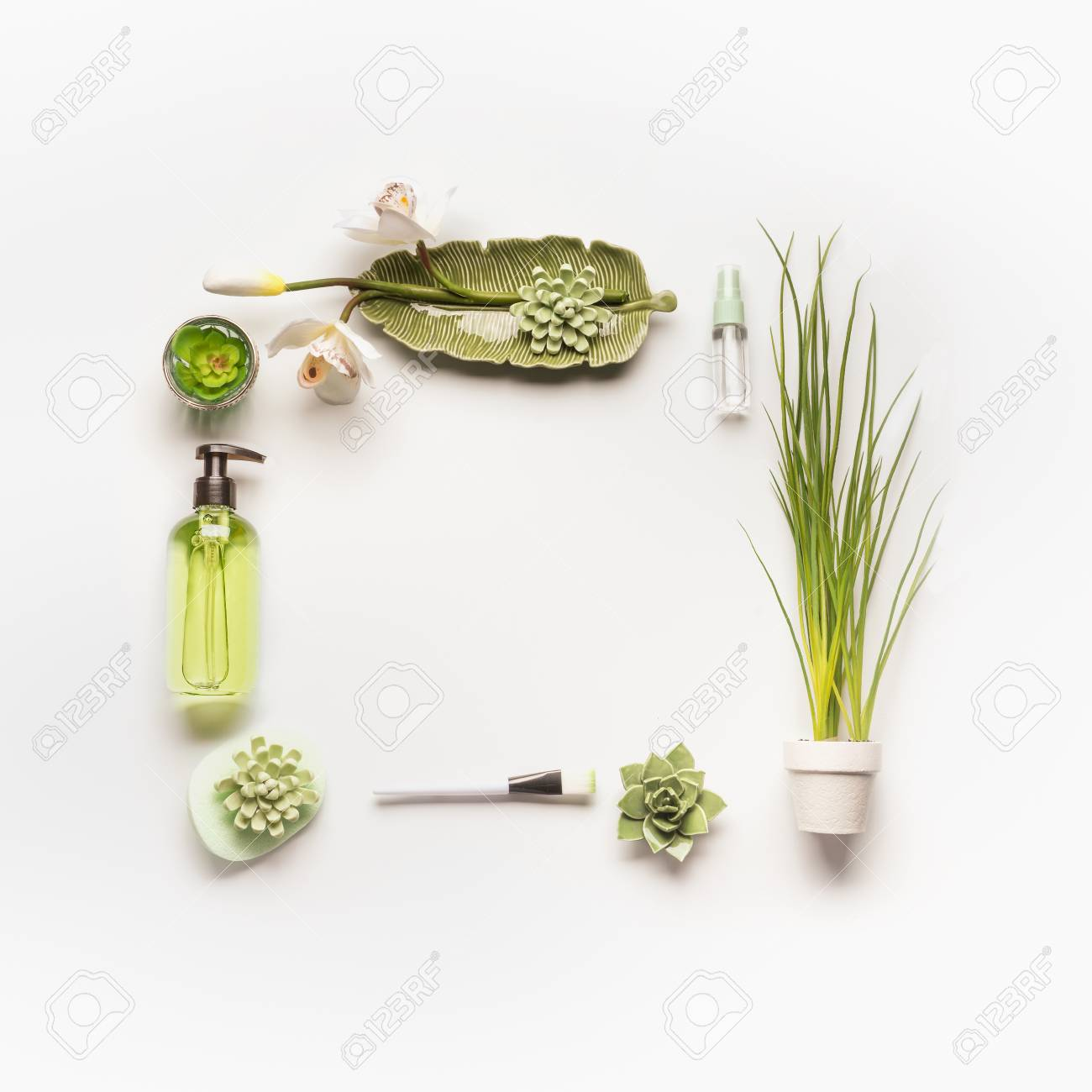 Modern Facial Skin Care Setting . Herbal Cosmetic Concept. Frame ...