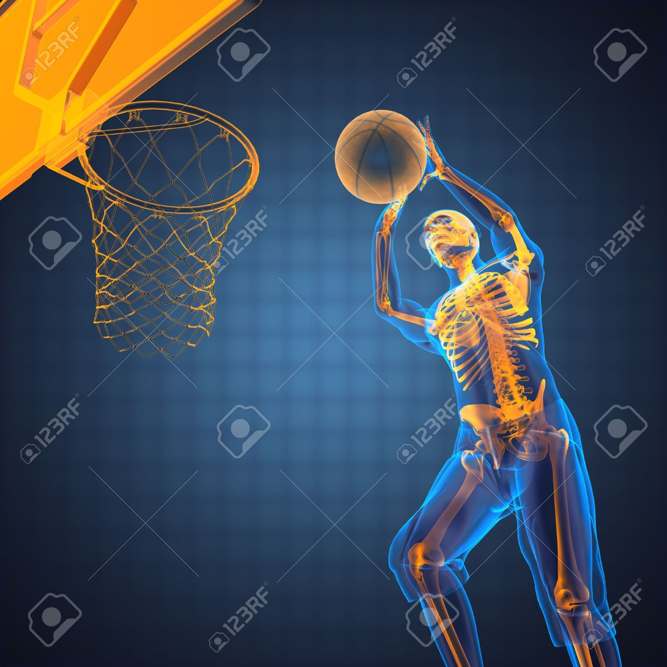 basketball game player made in 3D Stock Photo - 12602174