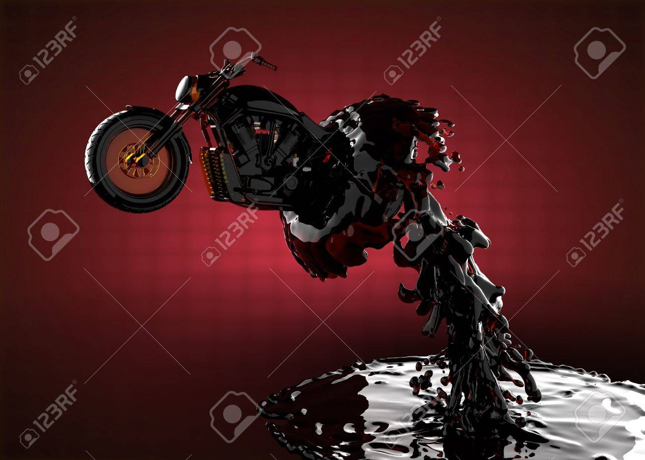 chopper bike in liquid made in 3D Stock Photo - 12609854