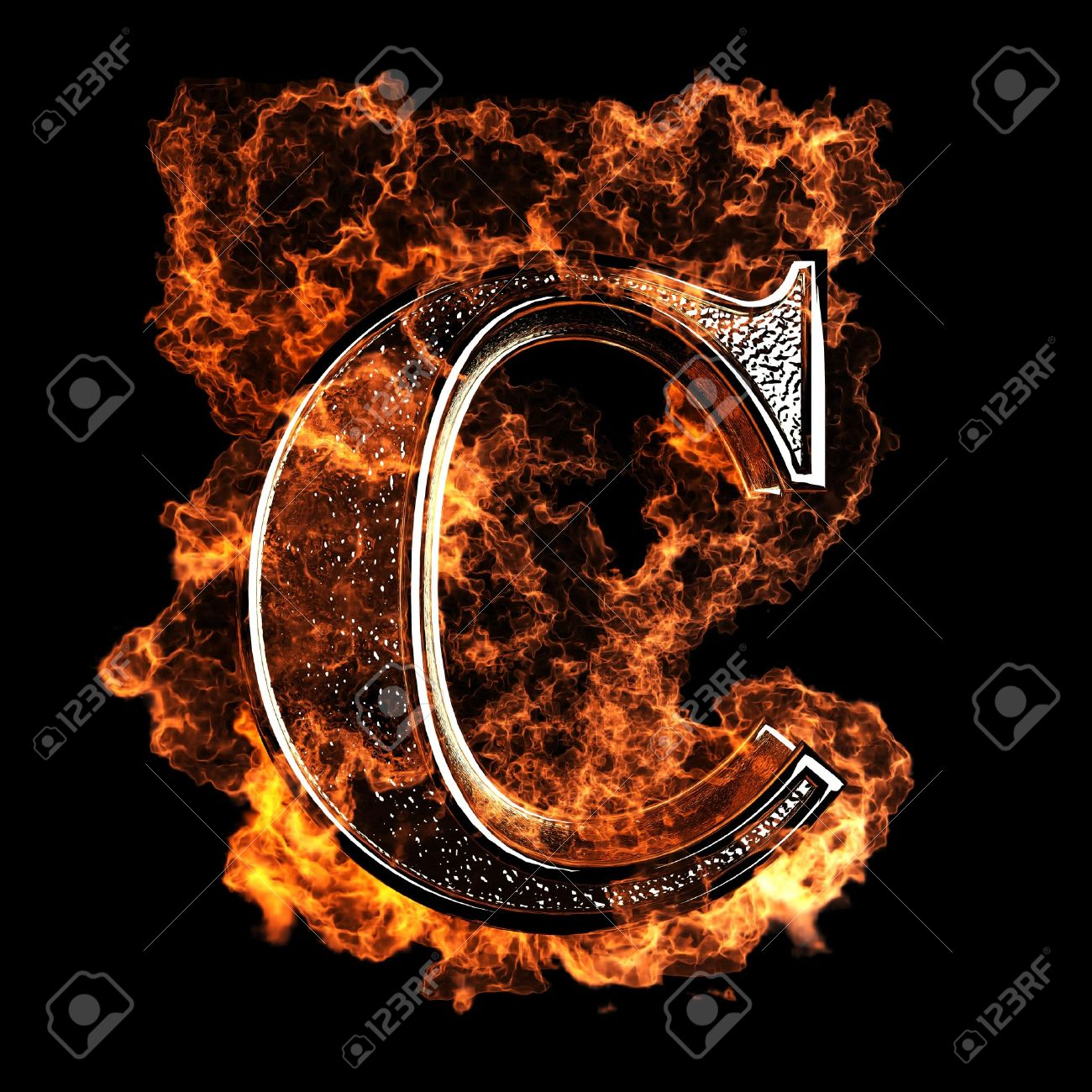 Burning Letter Made In 3D Graphics Stock Photo