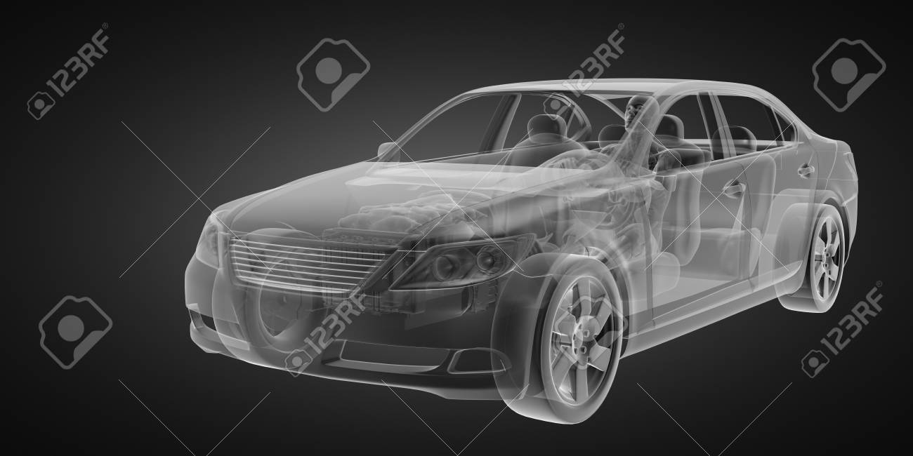transparent car concept with driver made in 3D Stock Photo - 13076058