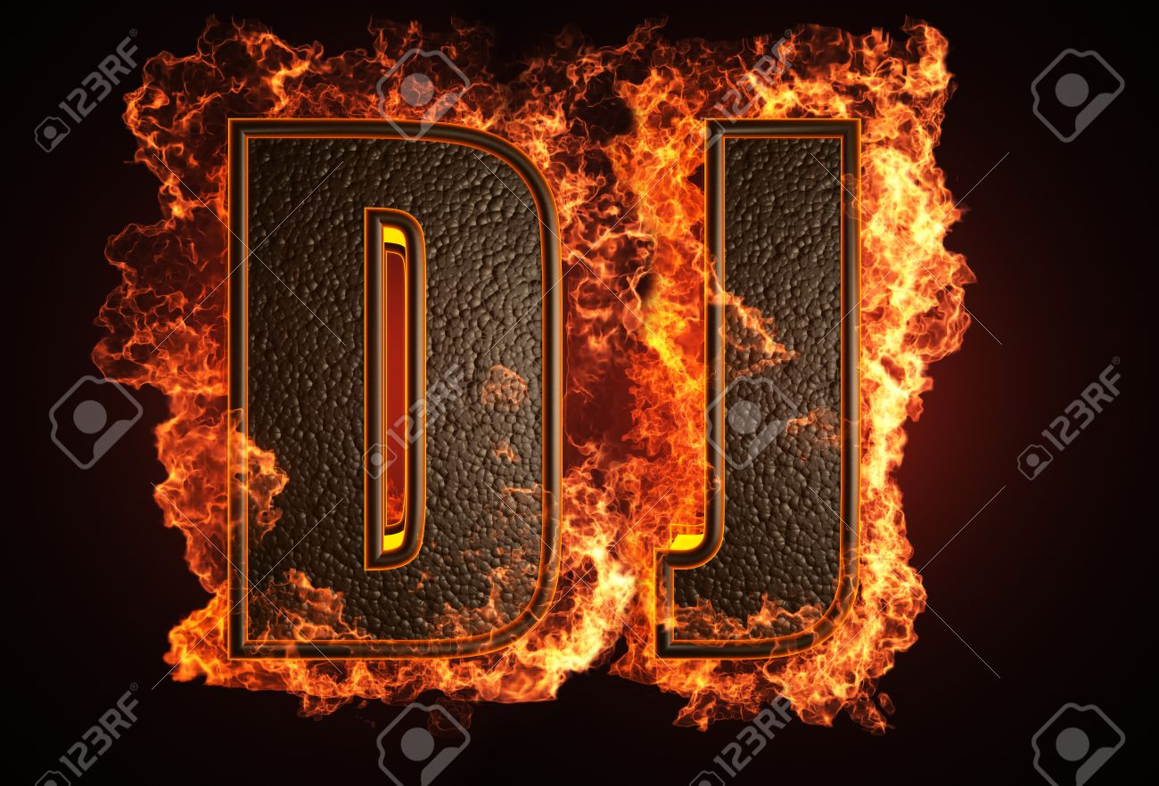 Burning Word Made In 3D Graphics Stock Photo