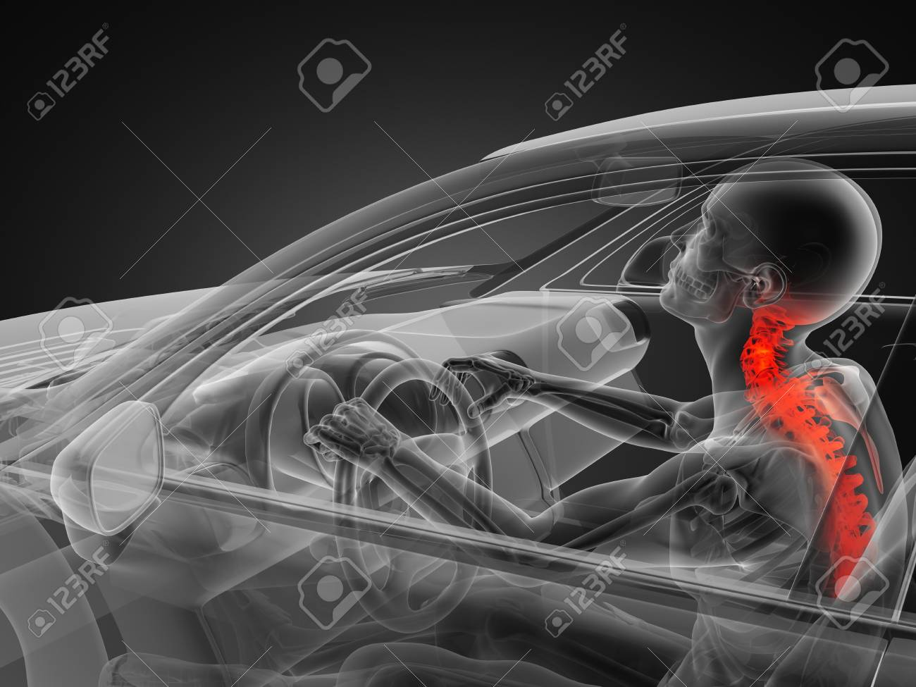 transparent car concept with driver made in 3D Stock Photo - 13962876