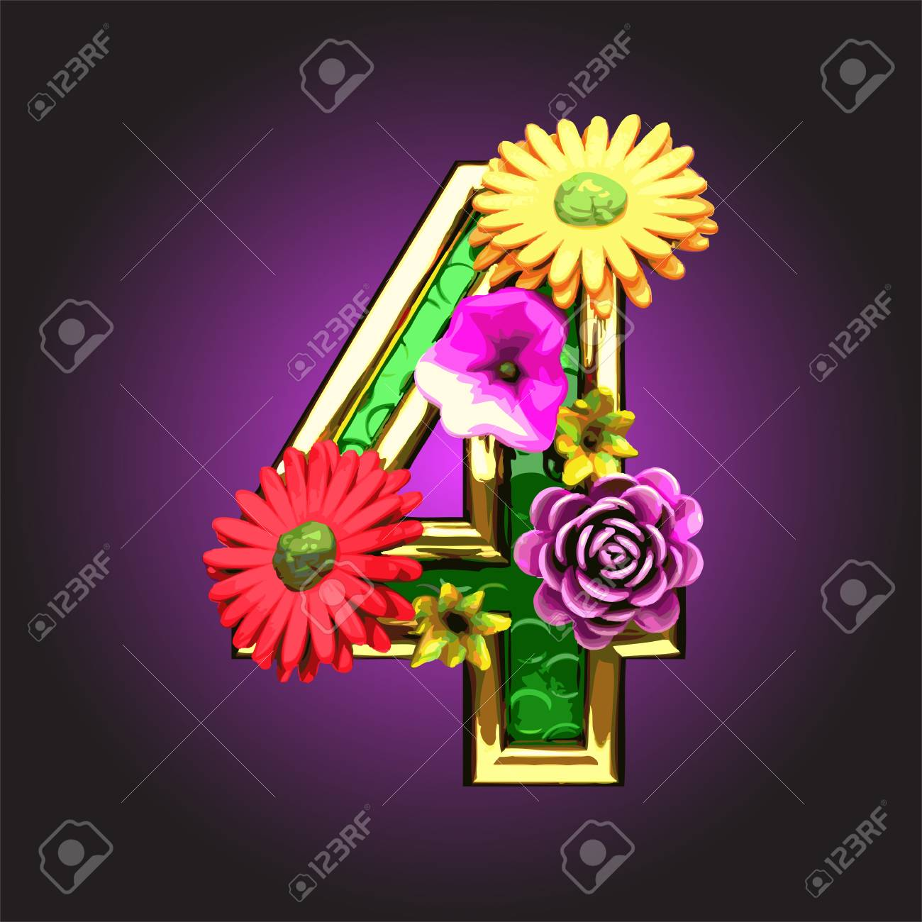Green figure with flowers made Stock Vector - 14482785