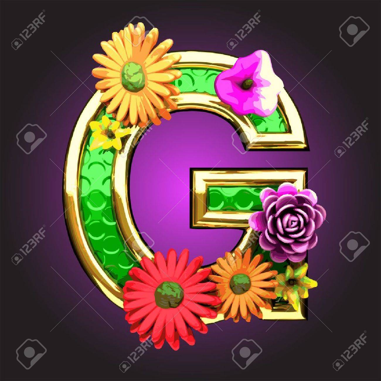 Green figure with flowers Stock Vector - 14483029
