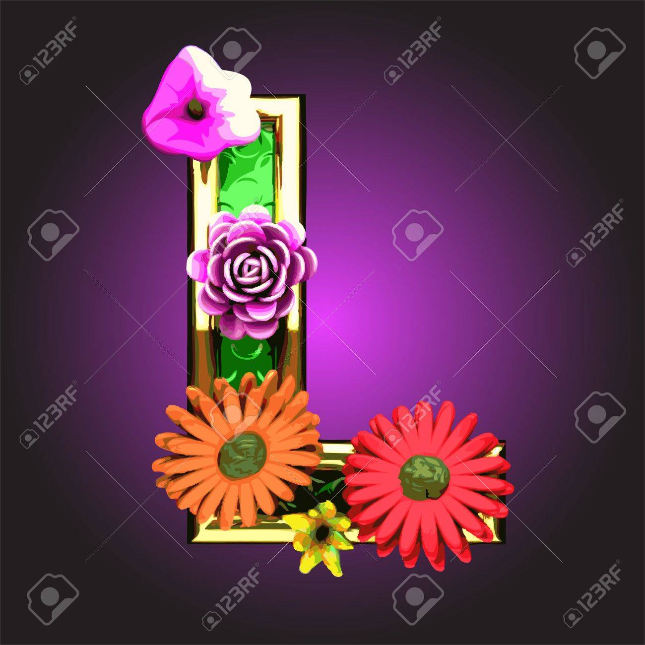 Green figure with flowers Stock Vector - 14482886