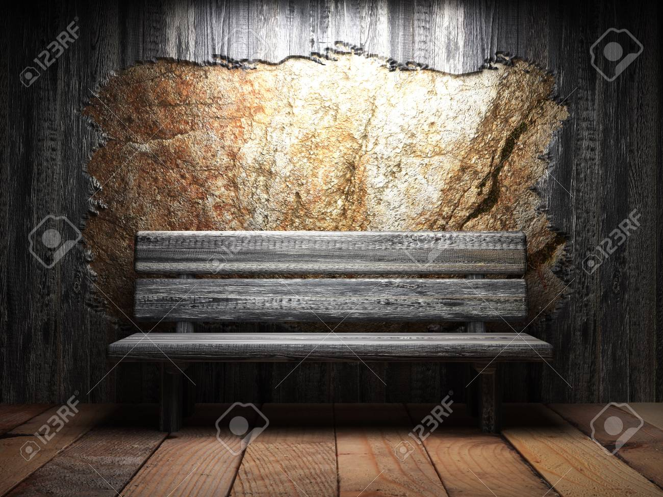 Excellent Old Wooden Wall And Bench Onthecornerstone Fun Painted Chair Ideas Images Onthecornerstoneorg