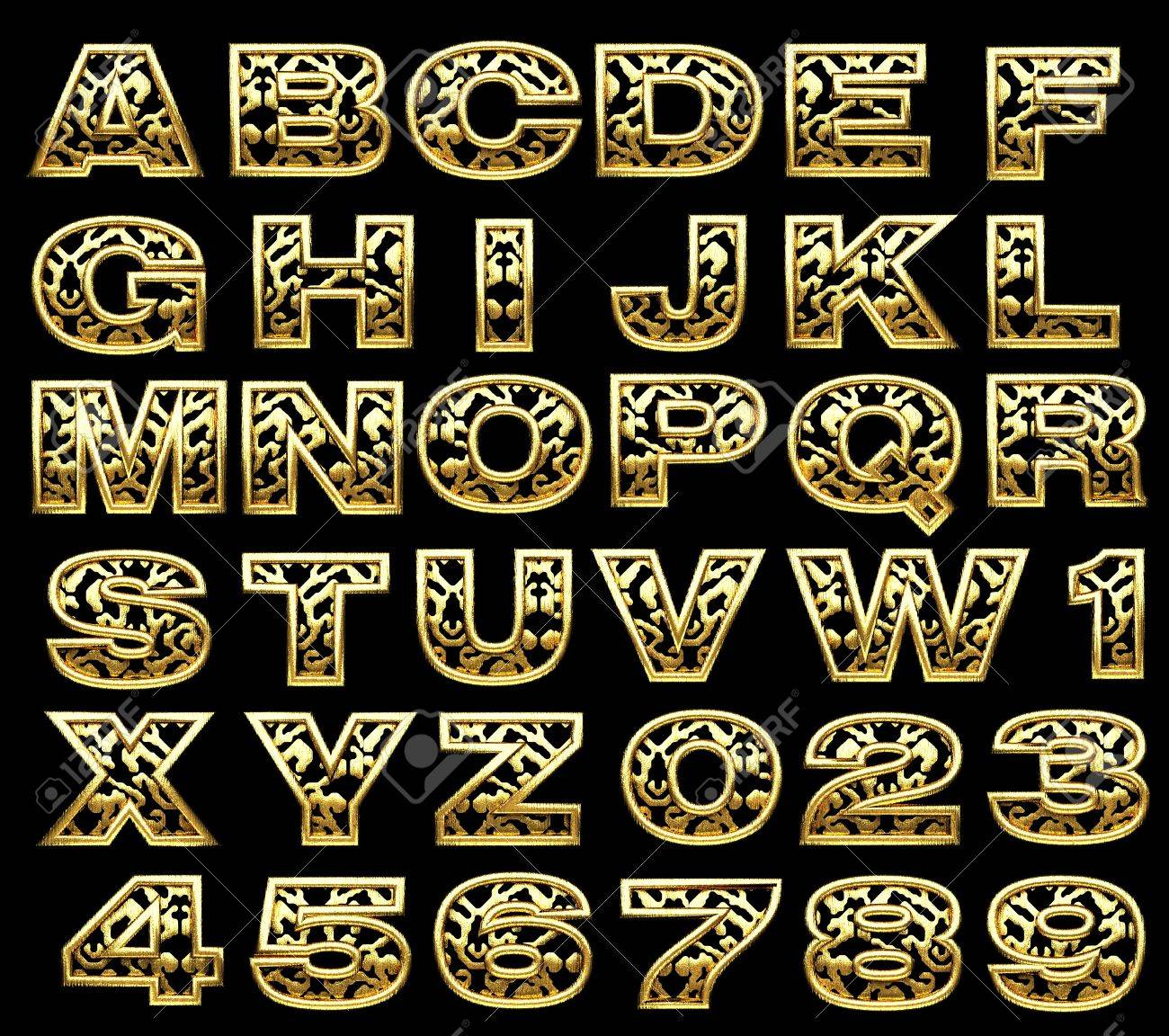 golden alphabet set on black Stock Photo - 17498532