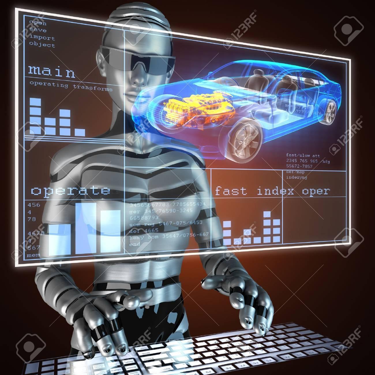 transparent car concept on LED - 17594282
