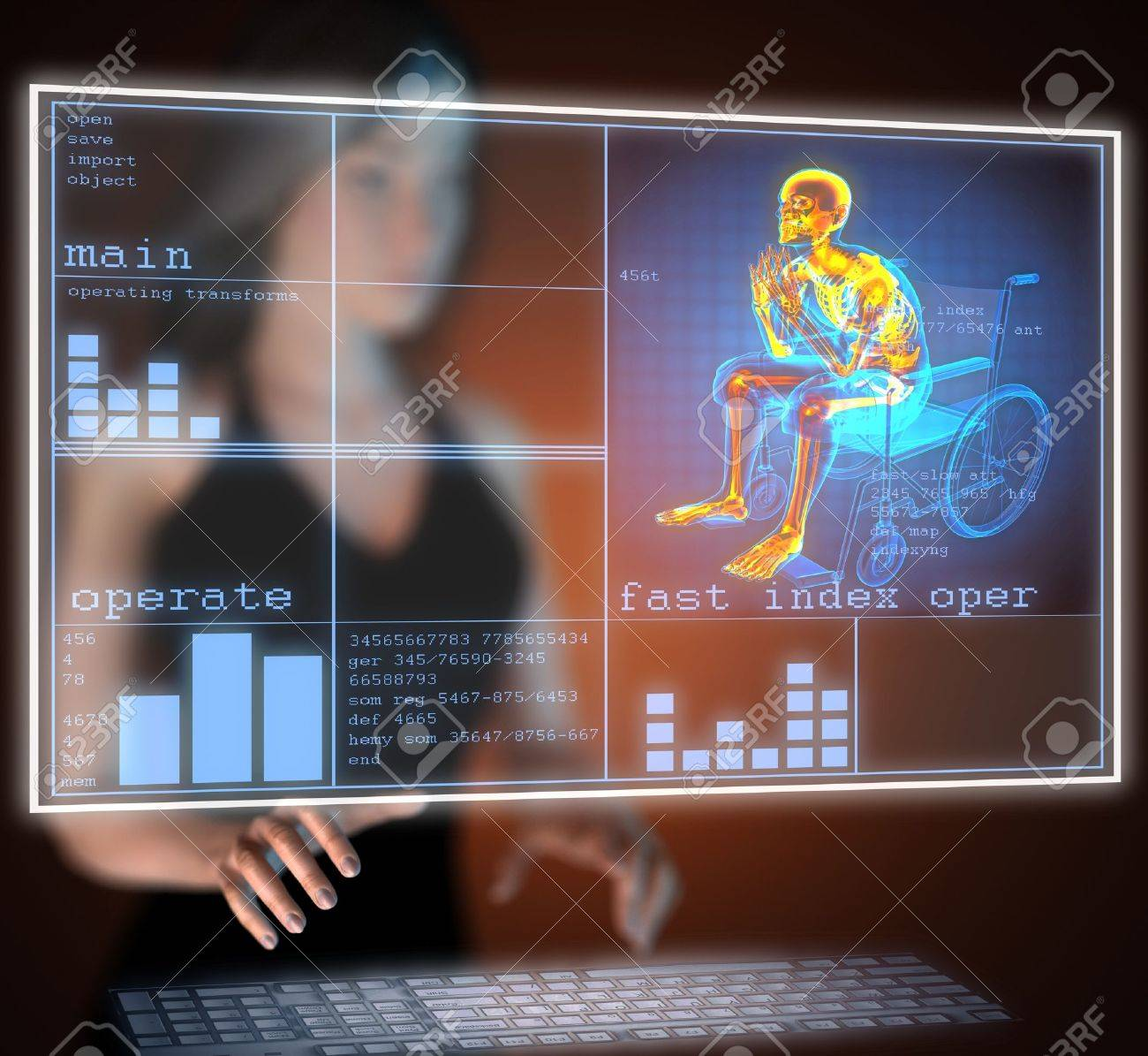 Man in wheelchair on hologram Stock Photo - 17645197