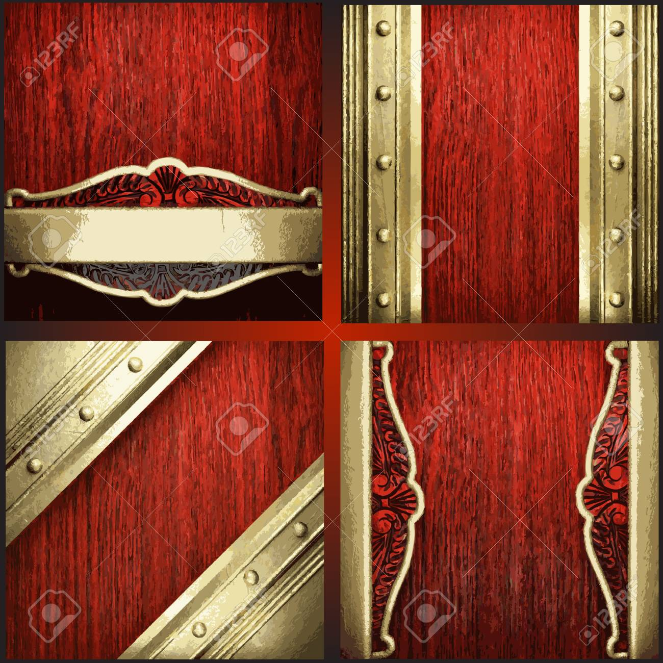 Vector red wood and gold background set Stock Vector - 18689625