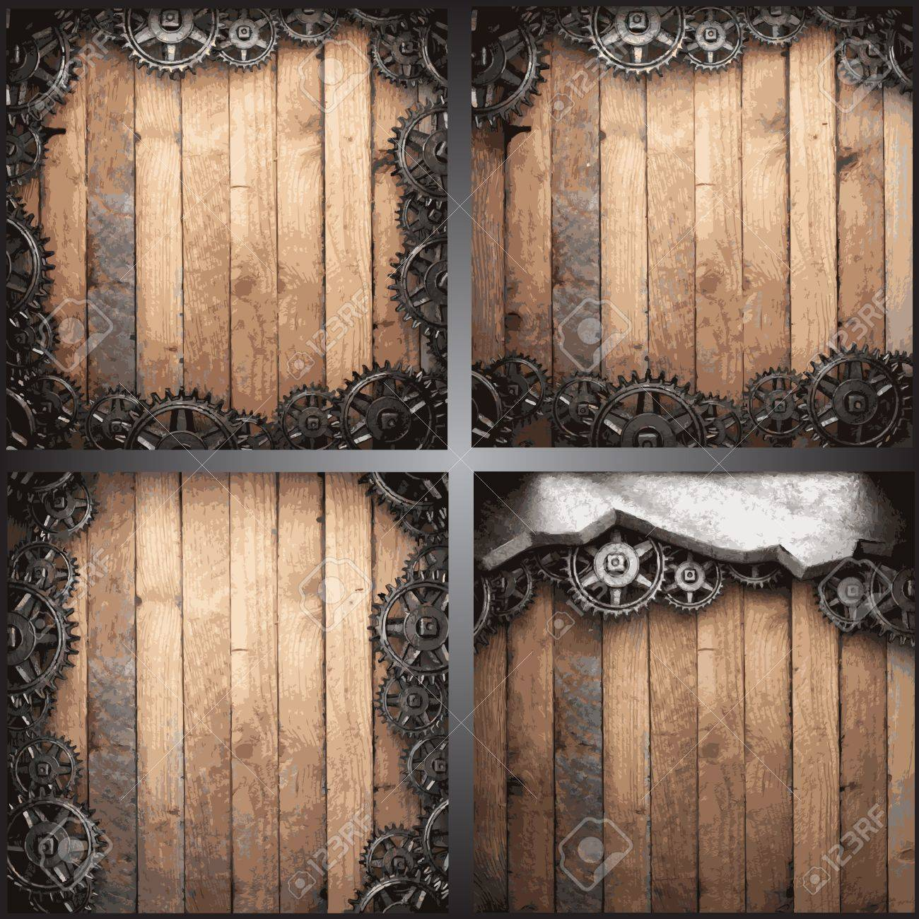 gear wheels on wooden background Stock Vector - 19258686