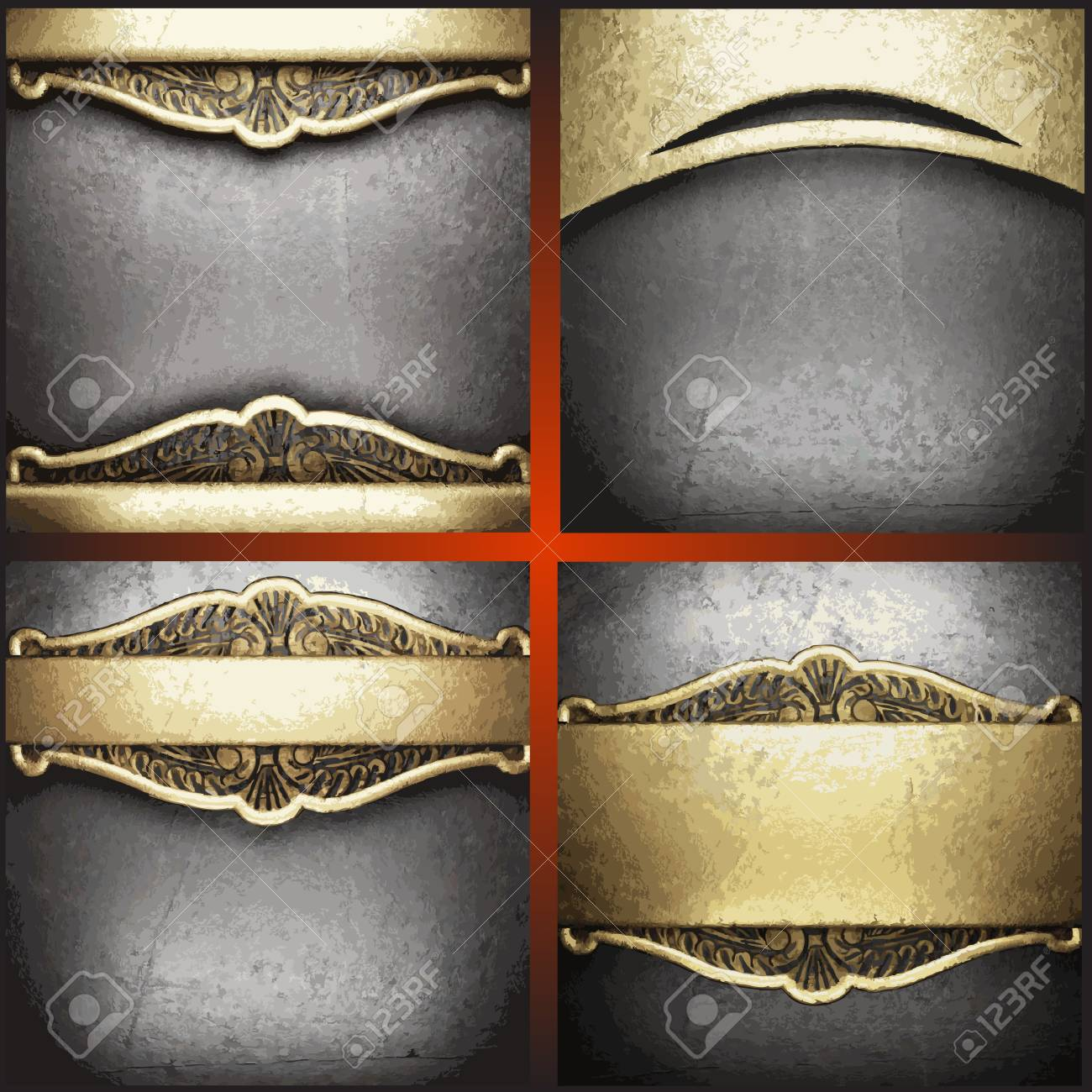 gold and silver background set Stock Vector - 19538574