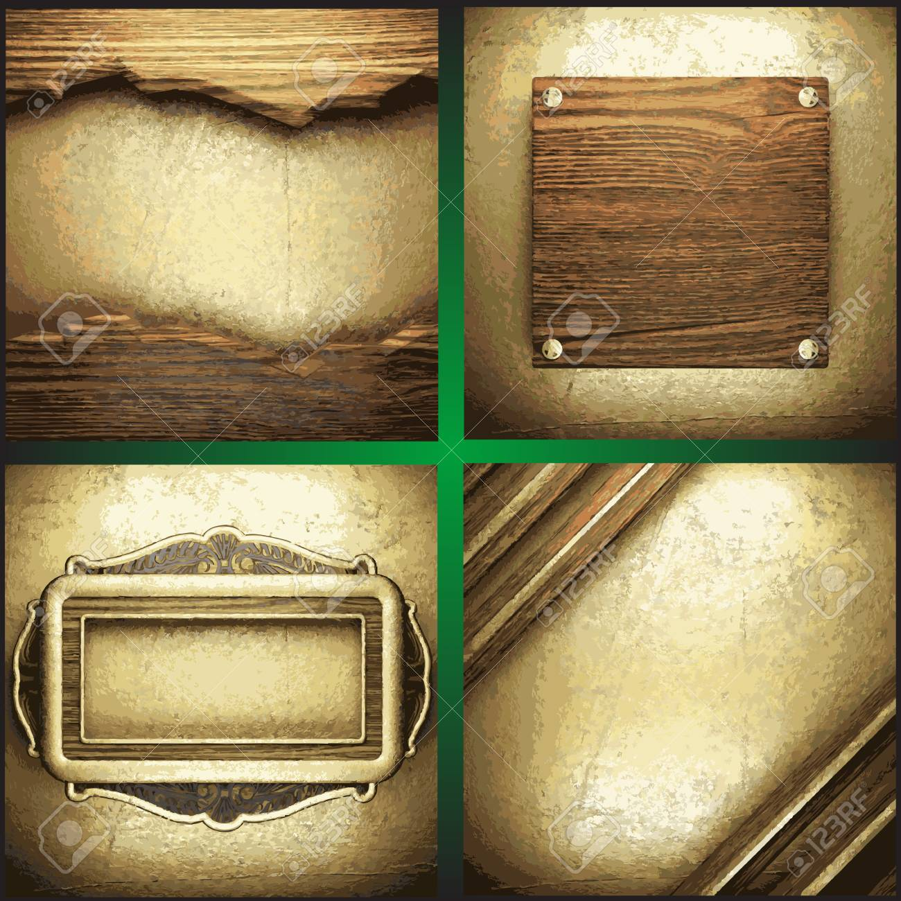 wood and gold background set Stock Vector - 19538570