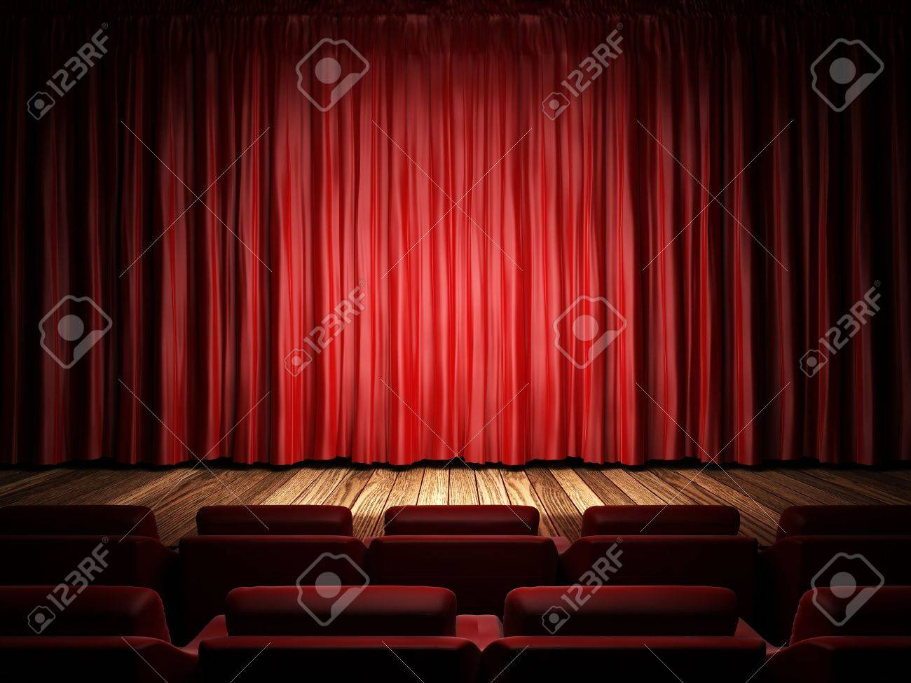 Stock photo dramatic red old fashioned elegant theater stage stock - Stage Curtain Red Fabric Curtain On Stage Stock Photo