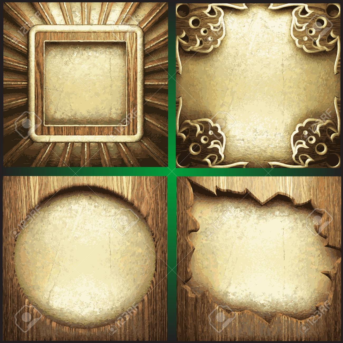 wood and gold background set Stock Vector - 19792782