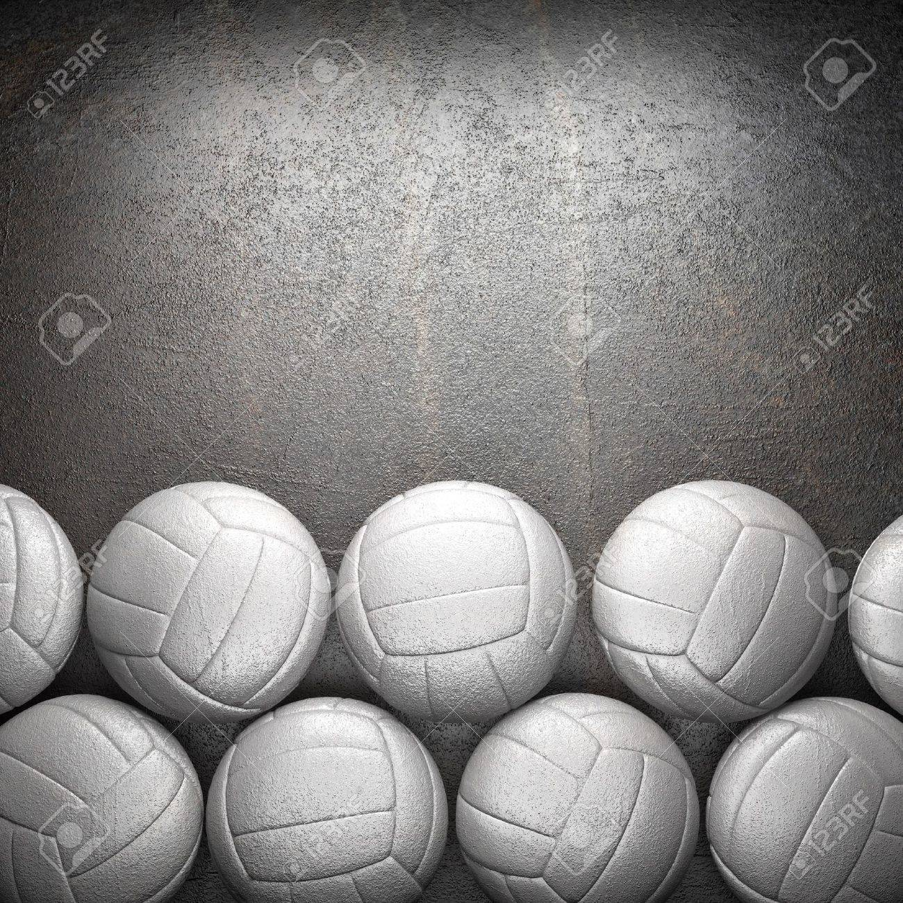 Volleyball ball and metal wall background - 20141779