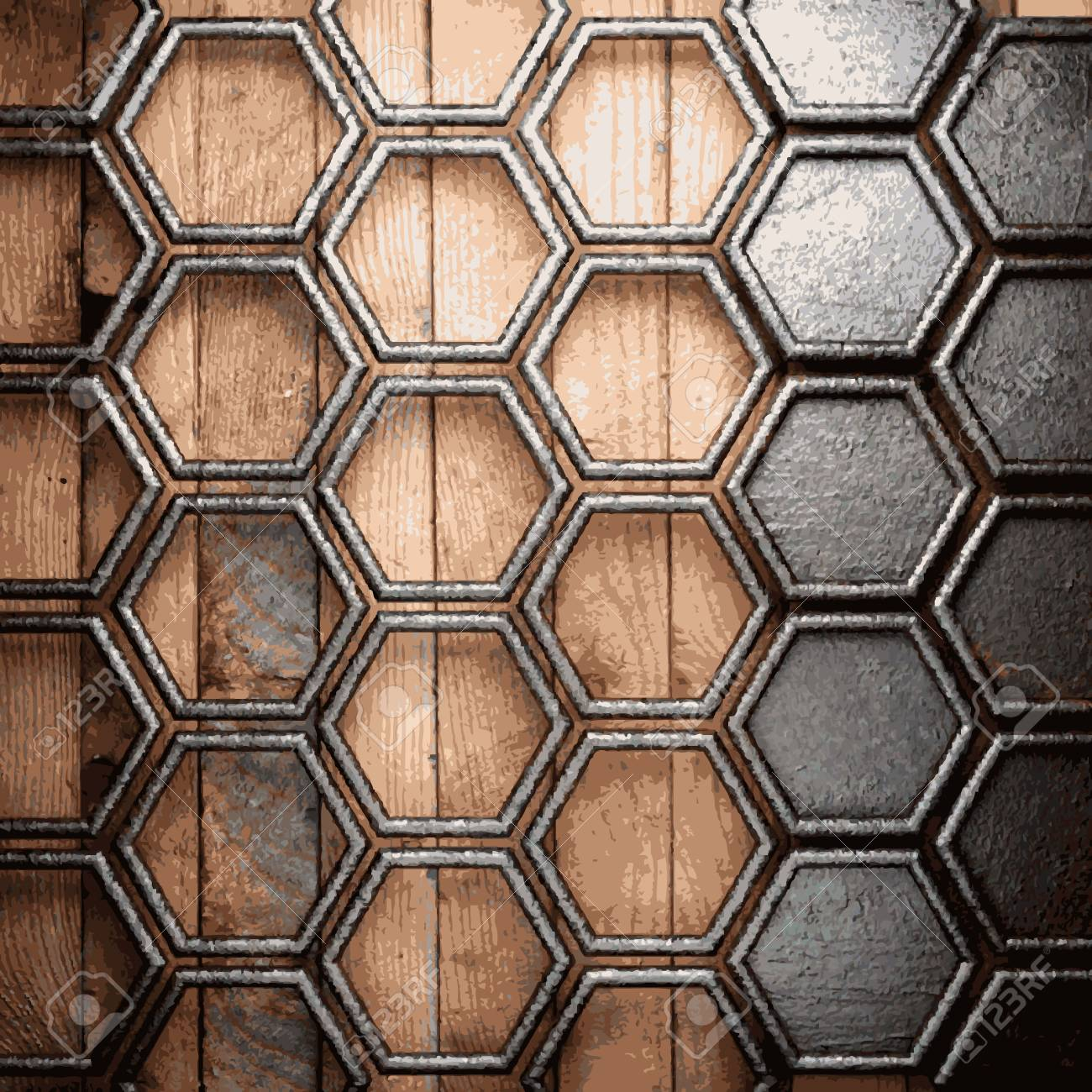 metal and wood background Stock Vector - 20600615