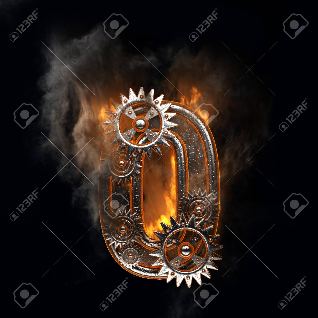 burning figure with gears Stock Photo - 22646203