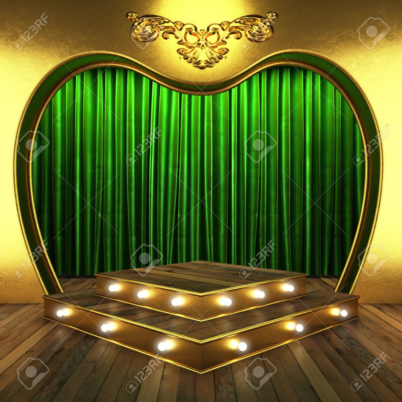 Green stage curtains - Green Fabric Curtain With Gold On Stage Stock Photo 23949403