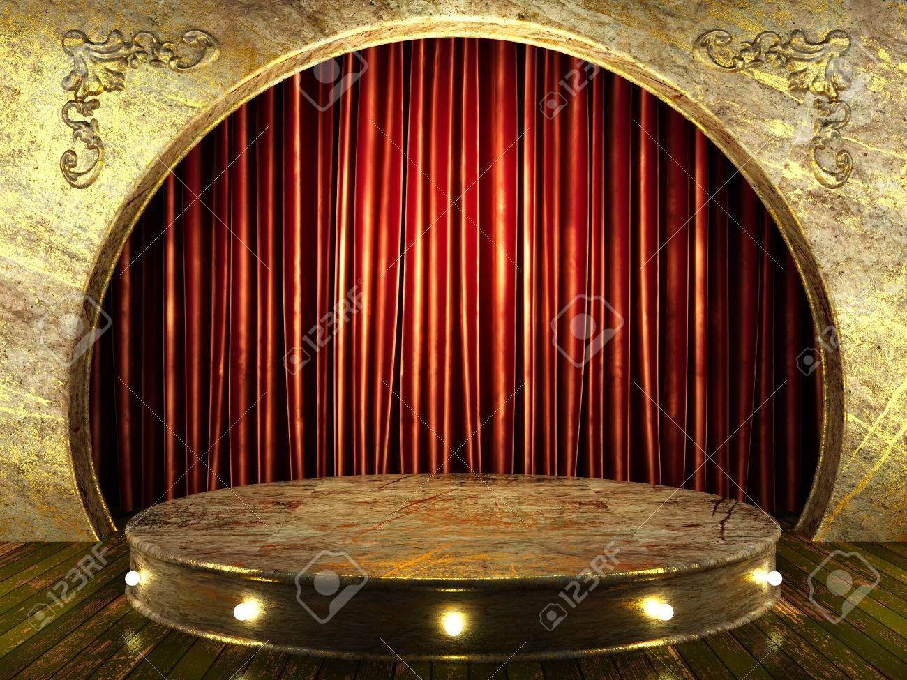 red fabric curtain on stage Stock Photo - 24183516