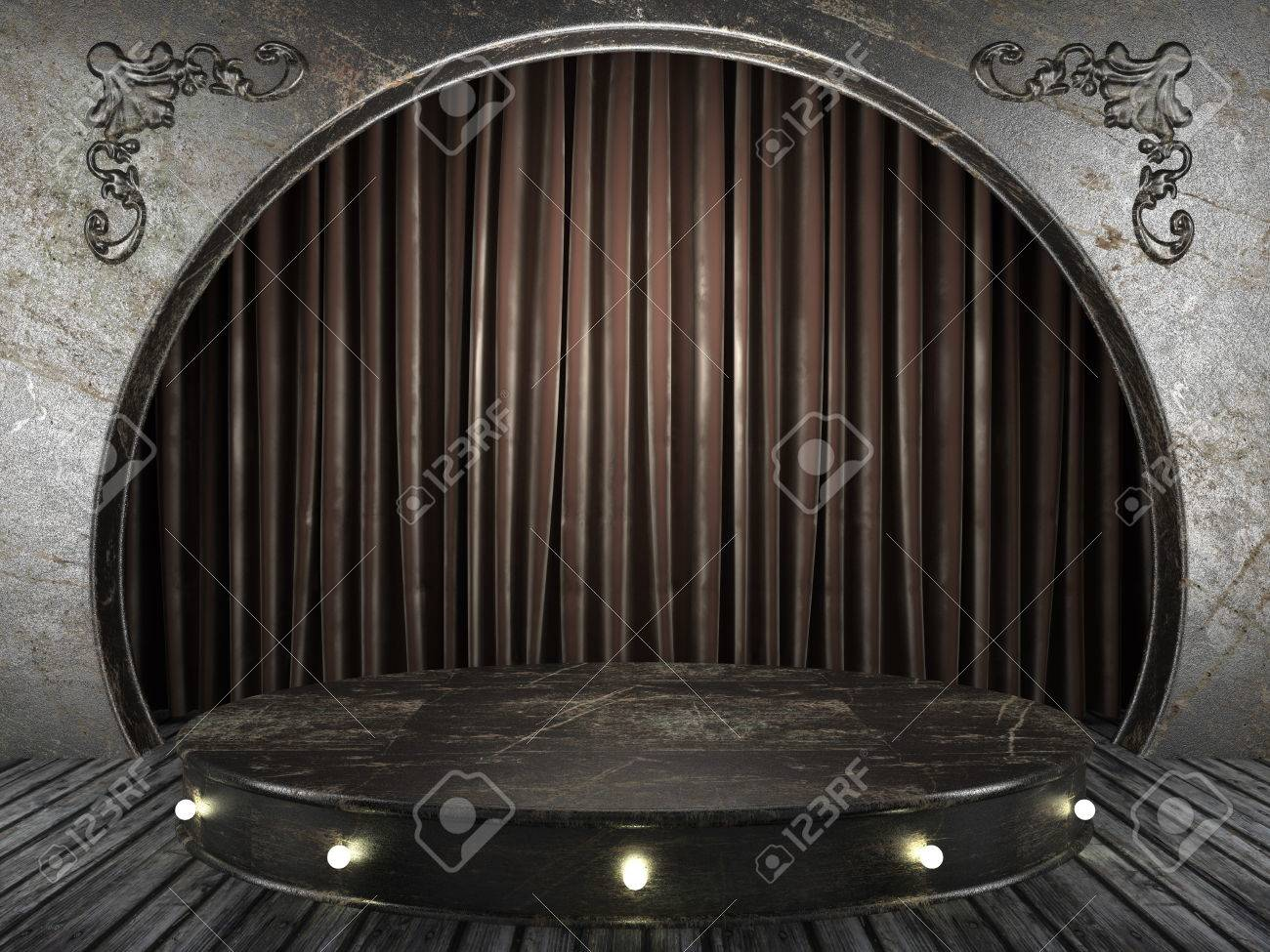 fabric curtain on old stage - 24834661