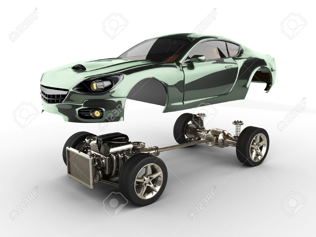 Lovely Car Chassis With Engine Of Luxury Brandless Sportcar Stock Photo   32767322