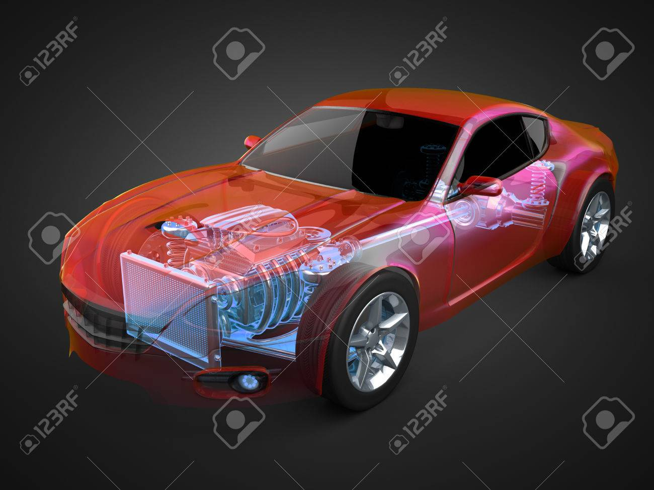 transparent car concept with visible engine and transmission - 33012150