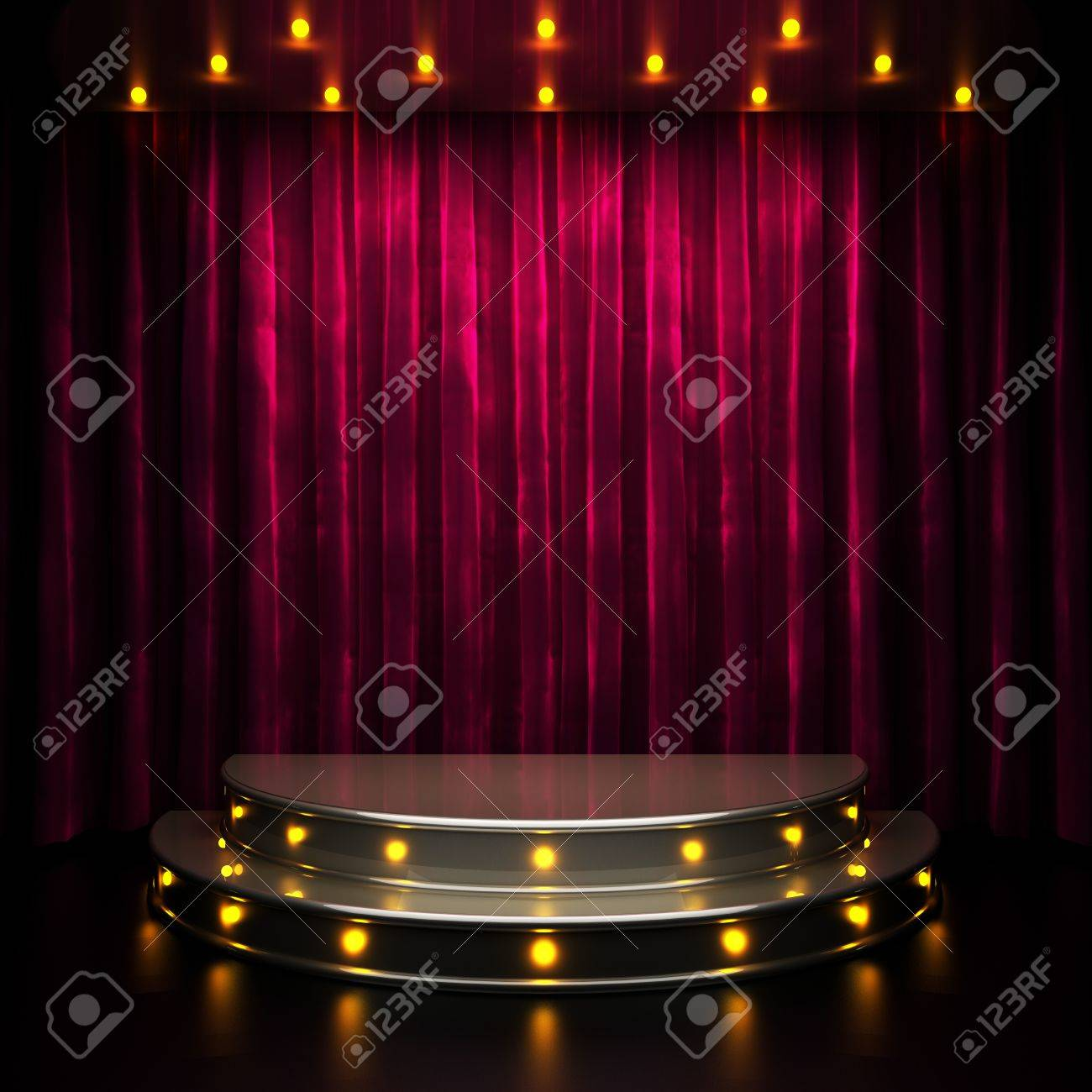 red curtain stage with lights - 34391857