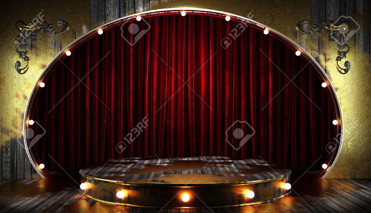 Empty stage curtains with lights - Stock Photo Red Curtain Stage With Lights