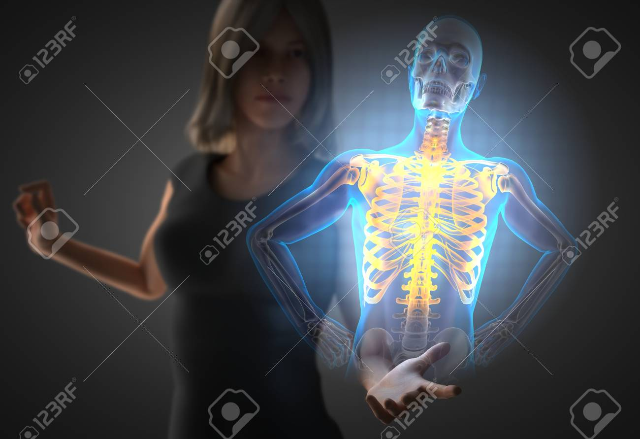 Woman And Hologram With Chest Bones Rodiography Stock Photo Picture