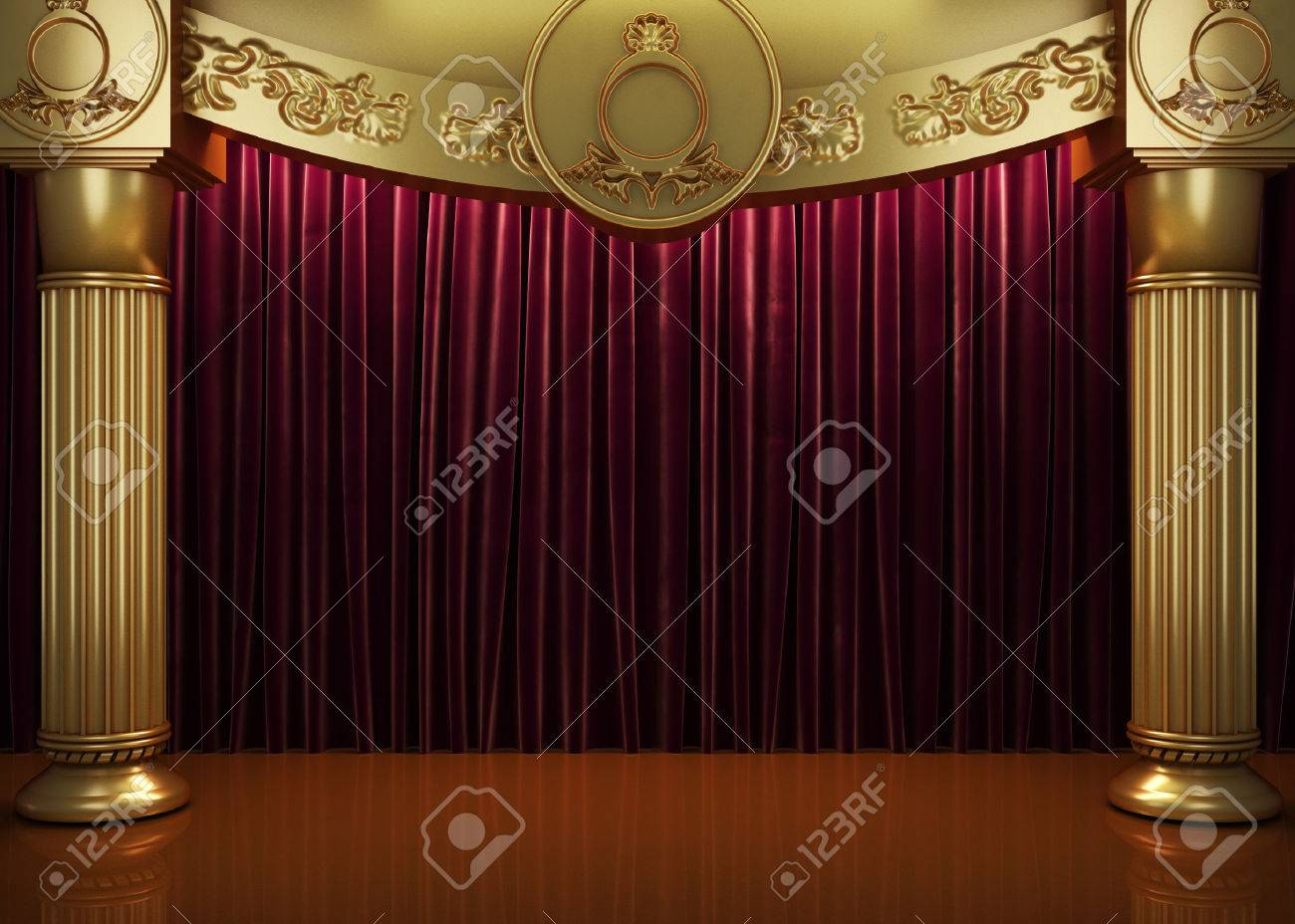 red curtain stage - 44378867